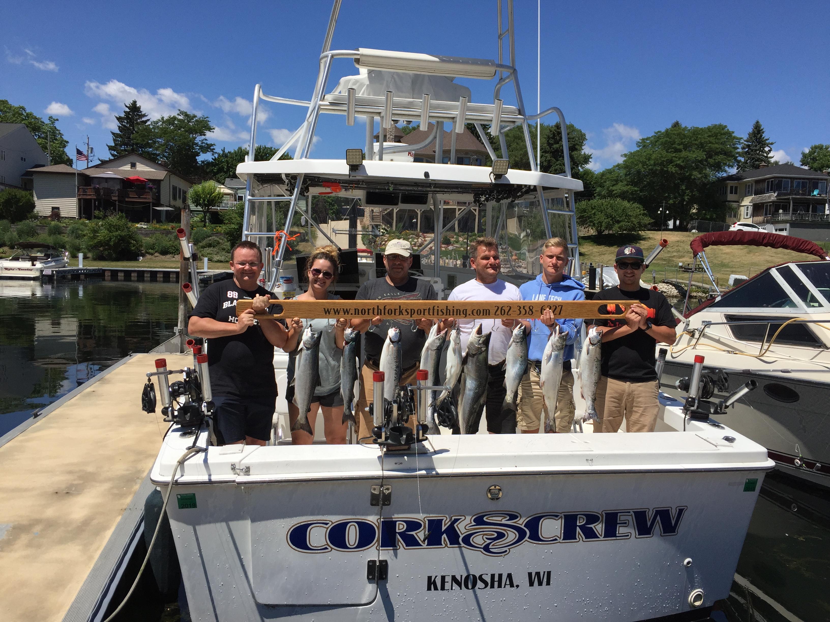 trout-salmon-group-caught-on-corkscrew-at-kenosha-wi